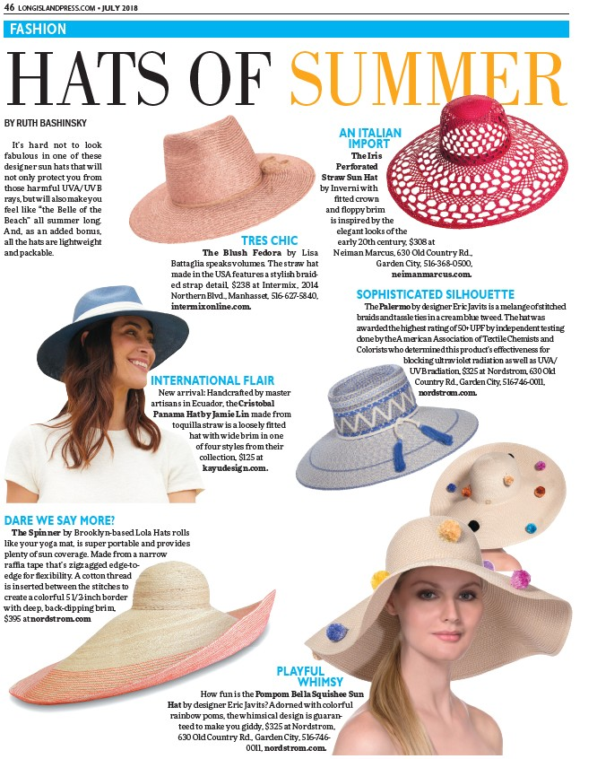 71cb093f140 COM • JULY 2018 FASHION HATS OF SUMMER BY RUTH BASHINSKY It s hard not to look  fabulous in one of these designer sun hats that will not only protect you  ...